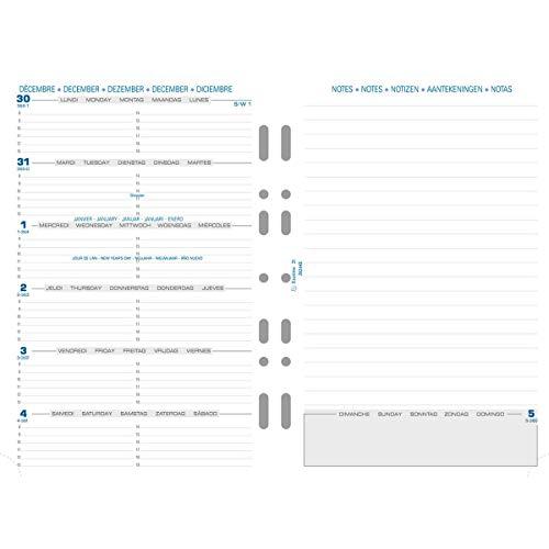 layout verticale con 1 settimana per 2 fogli Exacompta 28572 Fogli di ricambio colore fogli: bianco da gennaio a dicembre per raccoglitore Exatime 21 in lingua francese