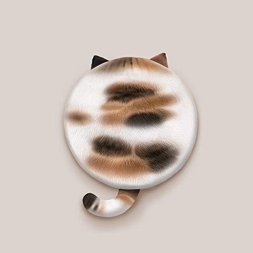 Hiseng Cojín de Silla Tatami Cojines para Asiento, 3D Impresión de Gato Espesar Suave Respirable Cojín, Redonda Cojin para Sofá, Colchoneta para Cocina Jardín Patio Oficina en Casa (Cafe Blanco)