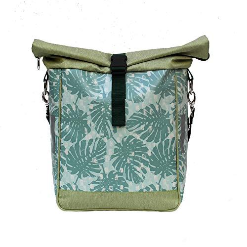 IKURI Fahrradtasche für Gepäckträger Satteltasche Einzeltasche Packtasche, abnehmbar, mit Tragegurt zum Umhängen, aus Plane, für Damen, Wasserdicht, Modell Monstera