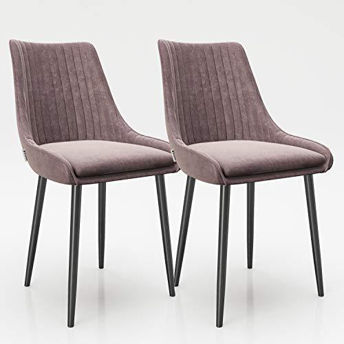 PLAYBOY Stuhl im 2er Set, mit Rückenlehne mit Bestickung, Polsterstuhl mit Samtbezug, gepolster Esszimmerstuhl mit Samtbezug in rosa, Rose Quartz, dunkler Metallfuss, Retro-Design, Club-Stil