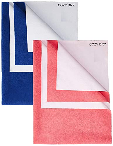 FRATELLI Cozy Dry Baby Bed Protector Twin Pack (Large(Navy Blue & Salmon Rose))