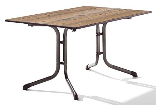 Sieger 1170-75 Boulevard-Tisch mit Puroplan-Platte 140 x 90 cm, Stahlrohrgestell marone, Tischplatte Holzstruktur Fichte