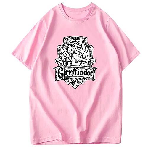 GAOLONG Harry Serie Gryffindor Drucke Short Sleeve-Kamm-T-Shirt, Unisex Sommer Loses atmungsaktiv T-Shirt Männer Rundhals T-Shirt Casual Tops,Rosa,L
