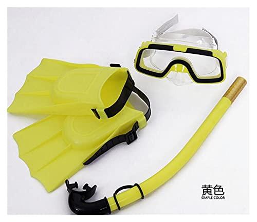 BOJSQ Aletas de Buceo Gafas de Buceo para niños, Snorkeling Sambo, Gafas de natación, Gafas de natación, Aletas de Snorkeling Suave y Confortable (Color : Yellow)
