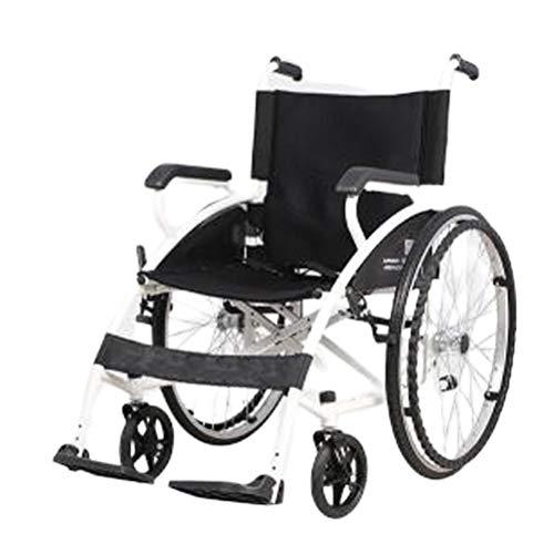 SPAQG opvouwbare, compacte en draagbare rolstoel voor binnen en buiten, massieve banden, 17,3 inch zitting, geschikt voor mensen met ongemakkelijke benen