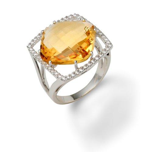 Miore - Sortija oro citrino y diamantes 0.33 ct, talla 12