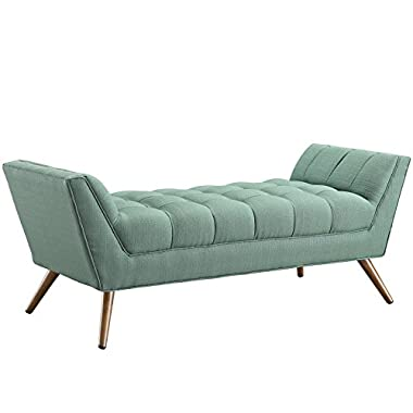 Modway Response Mid-Century Modern Bench Medium Upholstered Fabric in Laguna