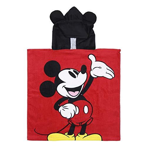 Cerdá 2200003873 Poncho Algodón Mickey, Rojo, 50x115cm