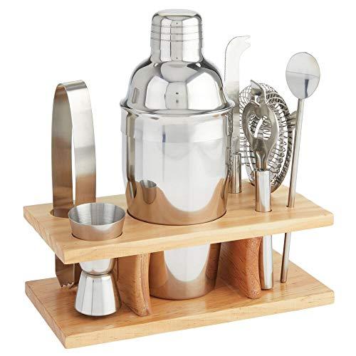 mDesign Set de coctelería de 8 Piezas – Vaso Mezclador y Accesorios de Acero con Base de bambú – Coctelera para Mezclar Bebidas y cócteles – Plateado