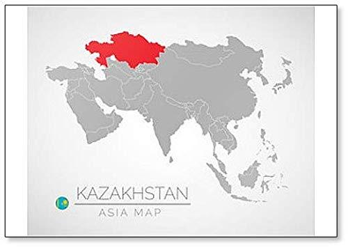 Kühlschrankmagnet, Motiv: Asien mit hervorgehobenem kasachstan