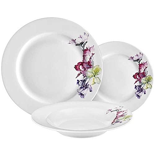 AMBITION Zastawa stołowa Garden 18-częściowy zestaw zastawy stołowej 6 osób zestaw naczyń serwis talerzowy porcelana prezent wzór kwiatowy nowoczesny