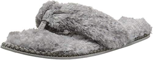 Dearfoams Women's Marie Furry Thong Slipper, Grey Frost, Large