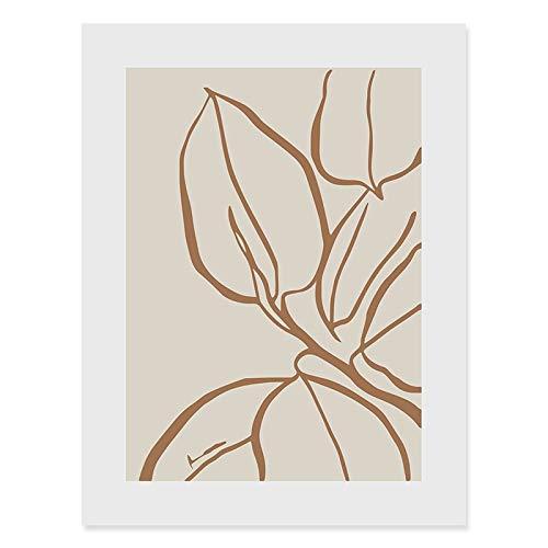 Abstrakte handgezeichnete Skizze des Boho-Stils Zeichnungspflanzenkunst Wohnzimmer nach Hause rahmenlose dekorative Leinwandmalerei D 30x40cm