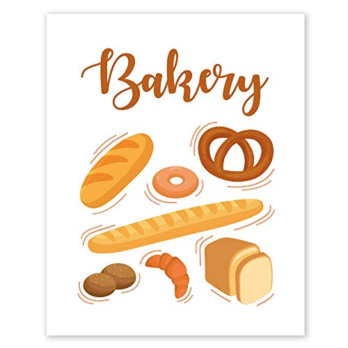 Bakery Wall Art Prints Pretzel Bread Bagel Rye Buns Croissant White Bread French Bread - Unframed 8x10 in - Decor for Home, Apartment or Coffee Shop - Funny Kitchen or Cafe Decoration Poster