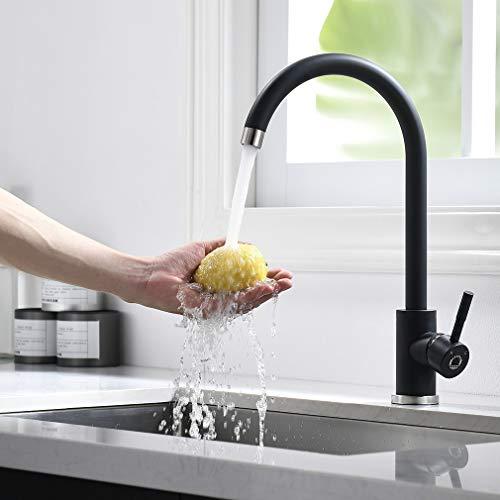 CECIPA Schwarz Küchenarmatur 360°drehbar Einhebelmischer Spültischarmatur aus Edelstahl, Einhand-Spültischbatterie Wasserhahn mit jede Küche geeignet