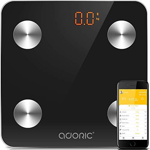 Báscula Grasa Corporal Bluetooth Báscula de Baño Más de 8 Funciones Bascula de baño Monitores de Composición Corporal Báscula Analógica Para Móviles Andriod y iOS (Negro)