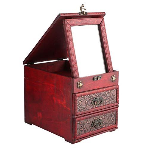 Caja de almacenamiento retro Caja de almacenamiento Caja de almacenamiento de joyería Multifuncional Conveniente para joyería Collares Pulseras Relojes con espejo Regalo(8023b-grass flower)