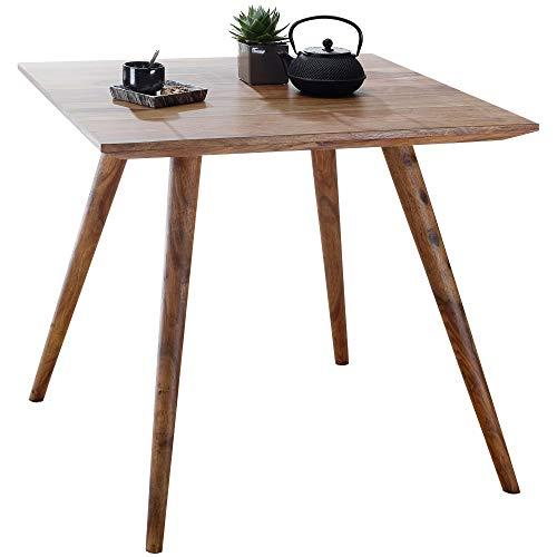 FineBuy Esszimmertisch 80 x 80 x 76 cm Sheesham rustikal Massiv-Holz | Design Landhaus Esstisch | Tisch für Esszimmer quadratisch | 4 Personen