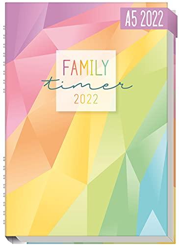 Family-Timer 2022 A5 [Rainbow] Der Familien-Kalender! 12 Monate: Januar bis Dezember 22 | Familien-Planer für bis zu 4 Personen + viele hilfreiche Features | nachhaltig & klimaneutral