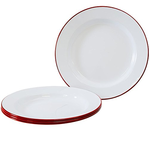 Enamelware - Set of 4 - Dinner Plates - Solid White with Red Rim