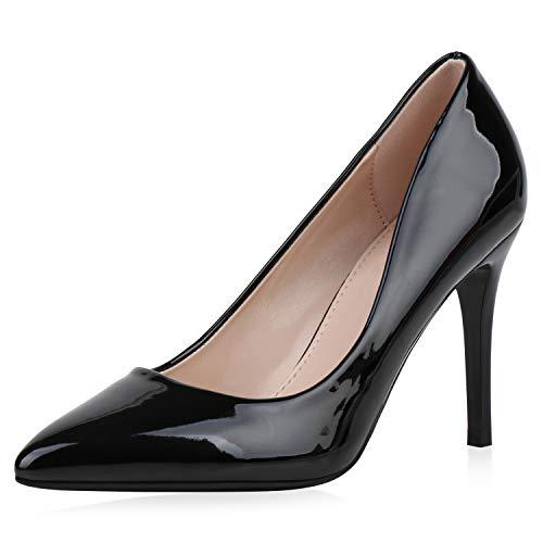 SCARPE VITA Damen Spitze Pumps High Heels Stiletto Lack Schuhe Party Absatzschuhe Elegante Abendschuhe 188069 Schwarz Schwarz Total 38