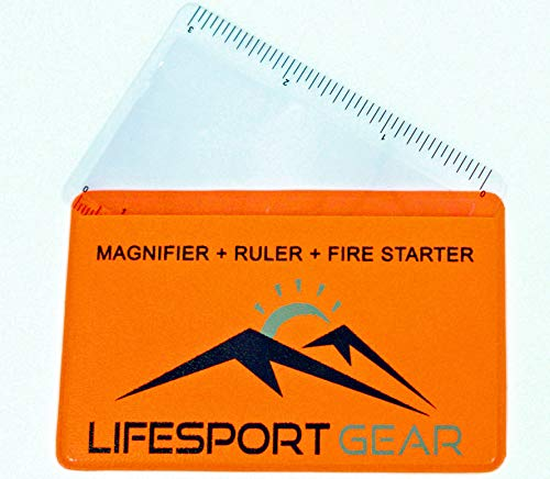 Lifesport Gear Fresnel Lens Pocket Magnifier Credit Card Wallet Size 6 Pack, Portable Ruler and Emergency Solar Fire Starter, Compact Magnifying Glass for Home Office Outdoor Survival Bushcraft