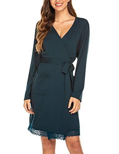 Maxmoda Badjas voor dames, ochtendjas, saunamantel met V-hals met lange mouwen, reis-badjas Kimono pyjama voor herfst winter badjas stille nachtkleding voor zwangere vrouwen