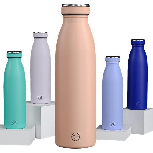 GH Botella de Agua acero Inoxidable 500ml Arena Cubana | Frasco de Agua de Metal Reutilizable | Botella Termica Doble pared al vacío | Botella de bebida reutilizable Sin BPA, Antigoteo y Fuga
