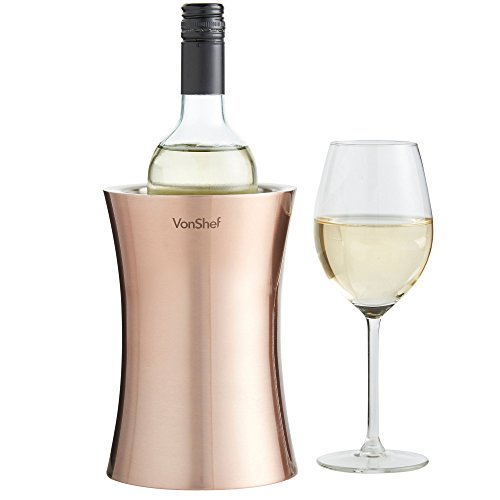 VonShef Copper Wine Bottle Cooler Chiller, Stainless Steel, Double Walled Insulated, Stemless Holder with Gift Box