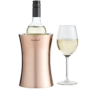 VonShef Copper Wine Bottle Cooler Chiller, Stainless Steel, Double Walled Insulated,...