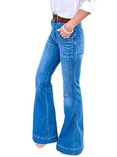 ORANDESIGNE Donna Jeans a Zampa di Elefante Svasati Classici Vita Alta Push-Up Blu Pantaloni Denim Larghi B Azzurro 3XL