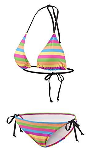 Beco Damen Side Tie Triangel B-Cup Bikini-Set, Mehrfarbig, 38
