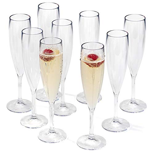 Elegante calice da champagne riutilizzabile in plastica, bicchiere in policarbonato effetto vetro infrangibile, da 9 cl, set da 9