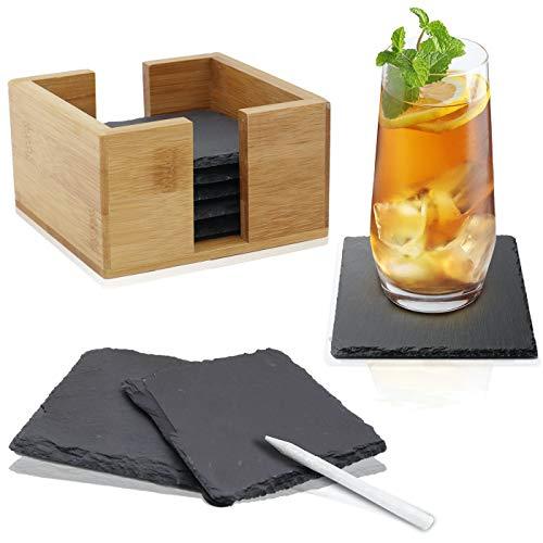HEIMCORE Juego de posavasos de pizarra (8 unidades), incluye rotulador de tiza, posavasos decorativos de cristal de pizarra 100% natural con práctico soporte de bambú noble (10 x 10 cm)