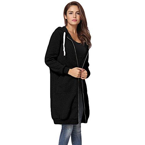 Romacci Damen Kapuzenpullover Lange Kapuzenpullis Beiläufiger Taschen Hoodie Pullover, Schwarz, 3XL