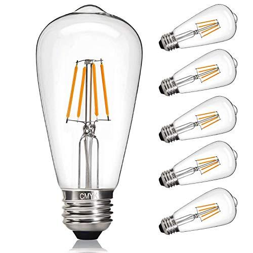 CMYK Led Edison Bulb, 4W, 40W Equivalent, 2700K Dimmable Led, Led Filament Light Bulb st64, Antique Light Bulb, E26 Medium Base, Warm White, E26 Edison Bulb, Clear Glass, Pack of 6