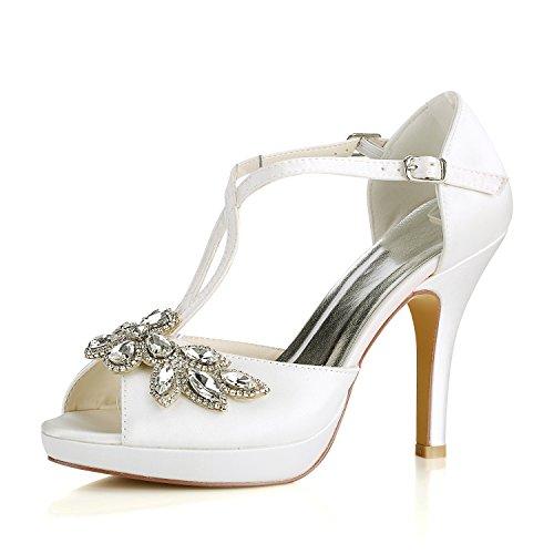 Emily Bridal Scarpe da Sposa Scarpe da Sposa Avorio Peep Toe Strass Criss Cross Scarpe da Sposa Sandali con Tacco Alto (EU37, Avorio)