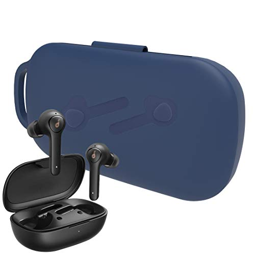 Geekria Silicone Earbud Hülle for Anker So&core Life P2 True Wireless Earbuds, Carrying Protective Cover, with Keychain Soft Slim, 2019 So&core Life P2 Wireless Headphones Silicone Hülle (Blue)