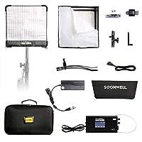 SOONWELL 撮影ビデオライト 50W 3000K-5600K CRI97+ 定常光ライト 巻き取り可能 撮影用 ライト DMX機能設定 リモコン対応 305*305 mm(FB-11)