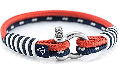 CONSTANTIN NAUTICS SAIL WITH US Maritimes Armband aus Segeltau, handgemacht, für Damen und Herren, mit Edelstahl Schäkel-Verschluss 3mm CNB #866 20cm