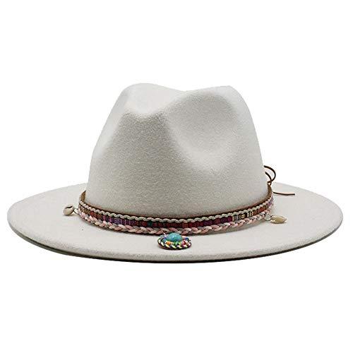 Sombrero De Moda para Damas, Sombrero De ala Ancha De Algodón De Hombre con Sombrero De Panamá Tasel Tejido Retro Jazz Fedora Sombrero Invierno Elegante(Size:56-58cm,Color:Blanco)