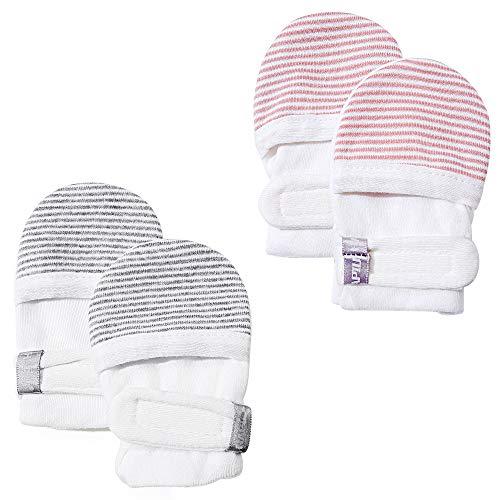 HAPIU Baby No Scratch Mittens,Newborn Baby Mittens,Gray&Pink Stripe,0-3 Months