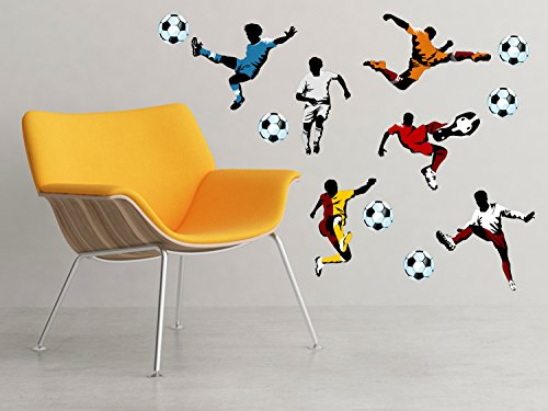 Soccer Fabric Wall Decals - Set of 6 Soccer Players And 6 Balls - Football Wall Art - Removable, Reusable, Respositionable