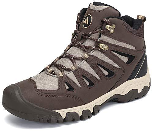 Mishansha Herren Mesh Wanderschuhe Leichte Atmungsaktiv Trekkingschuhe rutschfeste Wanderhalbschuhe Outdoor Wanderstiefel Hiking Schuhe,Braun,46 EU