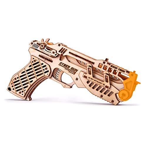 Wood Trick Cyber Gun 3D Wooden Puzzle - Rubber Band Gun...