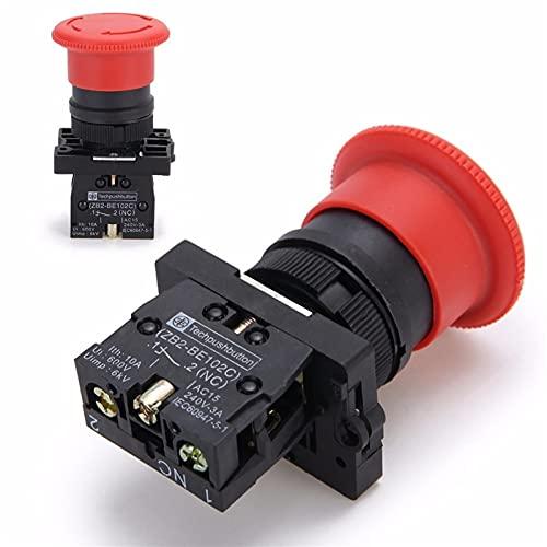 JSJJAUA Interruptores de botón Red NC 22mm de Parada de Emergencia Interruptor de botón pulsador XB2-ES542 Control Interruptor de Inicio eléctrico 220V 10A (Size : 1NOand1NC)