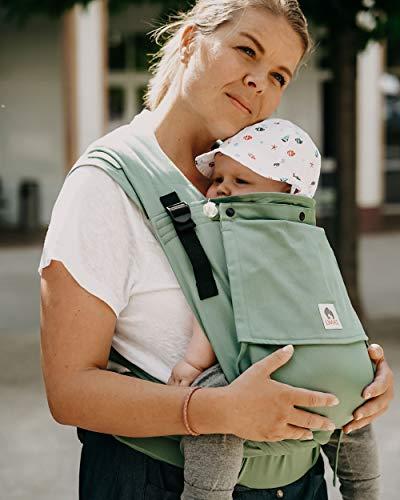 LIMAS Plus Babytrage Halfbuckle| 56-104 cm | Bauchtrage & Rückentrage & Hüfttrage | ab Geburt bis Kleinkindalter | Baby Carrier | Jade