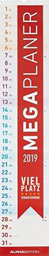 Megaplaner 2019 - Streifenkalender (14,5 x 70) - Streifenplaner 2019 - Wandplaner