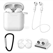 AirPods Case 5 in 1 Airpods Accessories Kits Protective Premium Silicone Case and Cover for Charging Case with Airpods Strap/Airpods Ear Hooks/Anti-Lost Carabiner/Airpods Watch Band Holder (White)