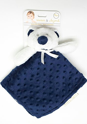 Blankets and Beyond Navy and White Bear Dot Baby Security Blanket by Blankets and Beyond